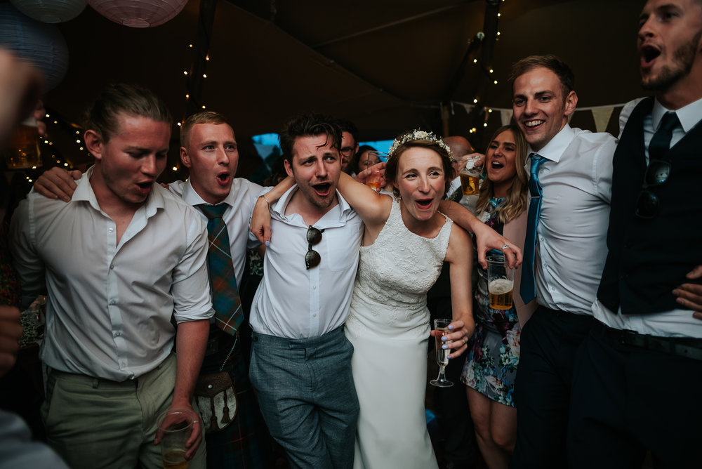 bride partying in a tipi