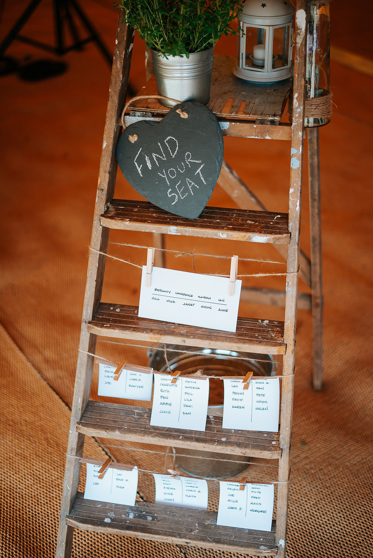 rustic ladder decoration at tipi wedding