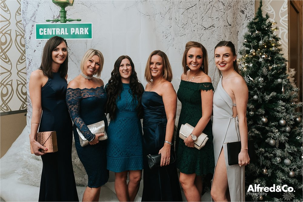 ladies lined up at christmas party