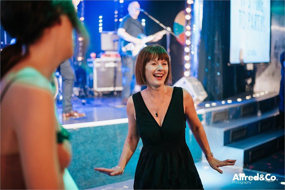 woman dancing at christmas party