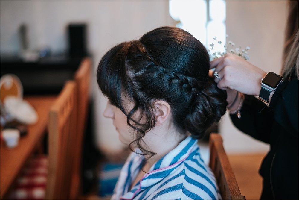 bride having their wedding hair done by erica jackson hair