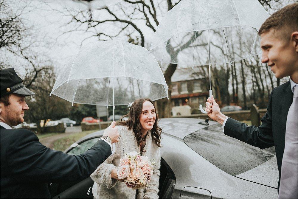 bridesmaid arrives at church in bolton