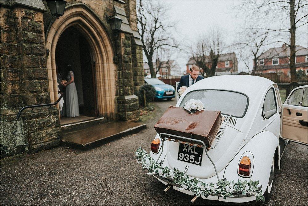 vintage volkswagon wedding beetle in lancashire