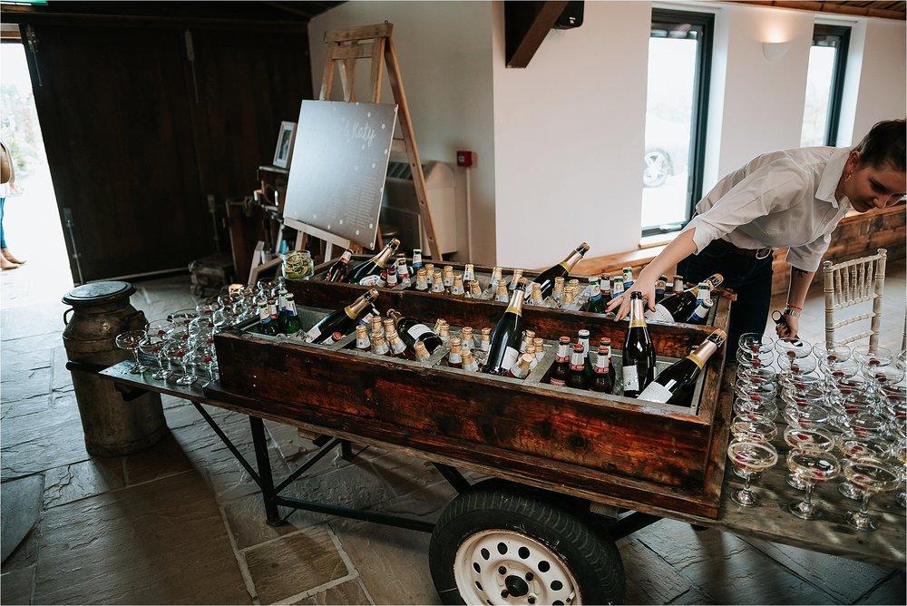 drinks cart at owen house wedding barn