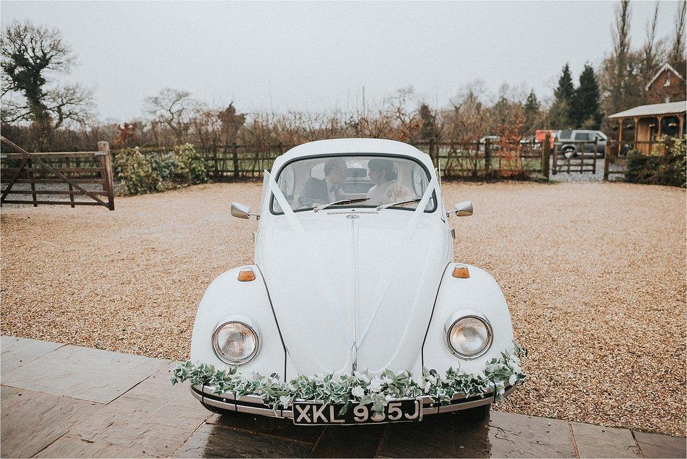 Vintage wedding VW Beetle oustide owen house wedding barn