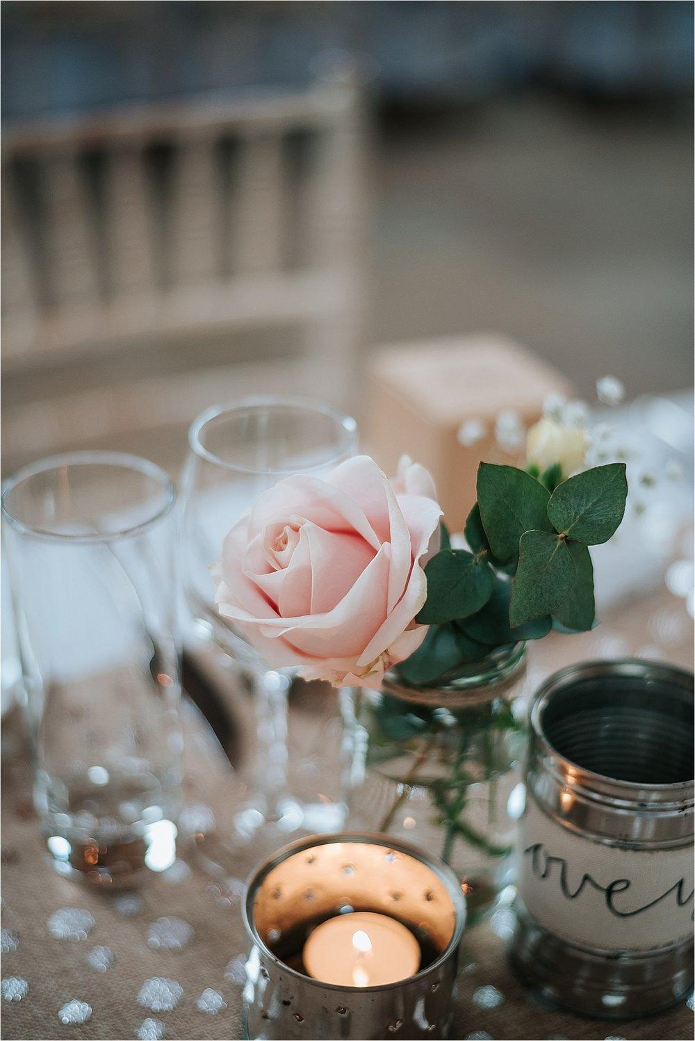 blush pink rose at vintage wedding