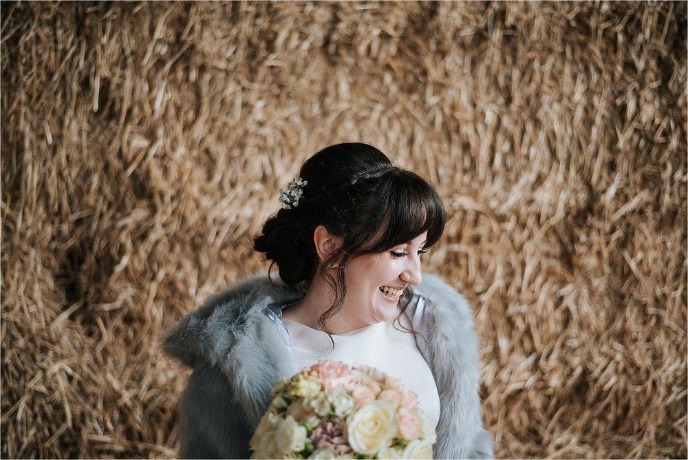 bridal portrait in owen house wedding barn