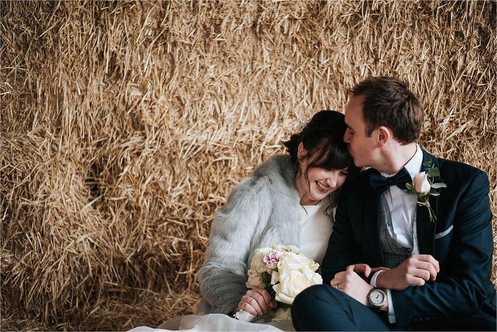 happy bride and groom at owen house wedding barn