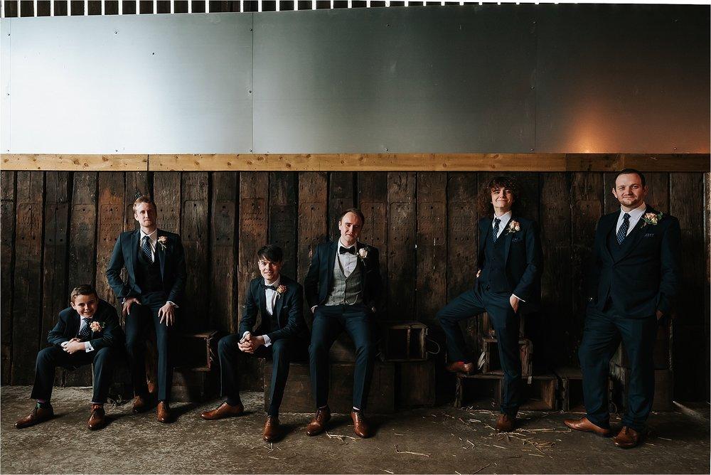 group shot at owen house wedding barn