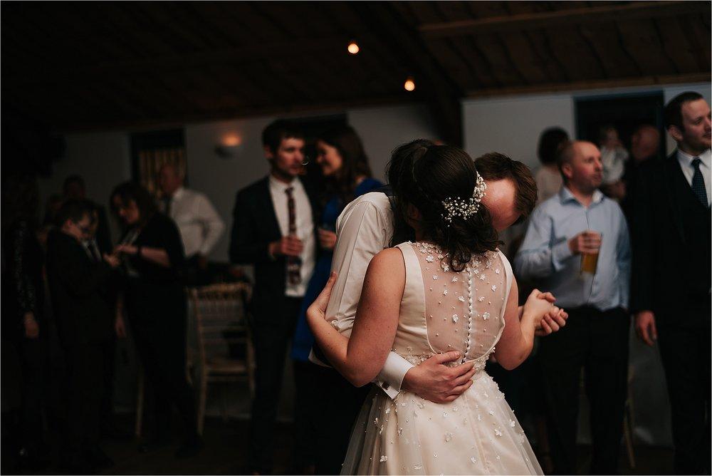 bride and groom dancing at owen house wedding barn