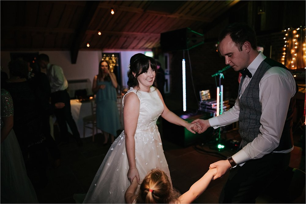 wedding party at owen house wedding barn, cheshire