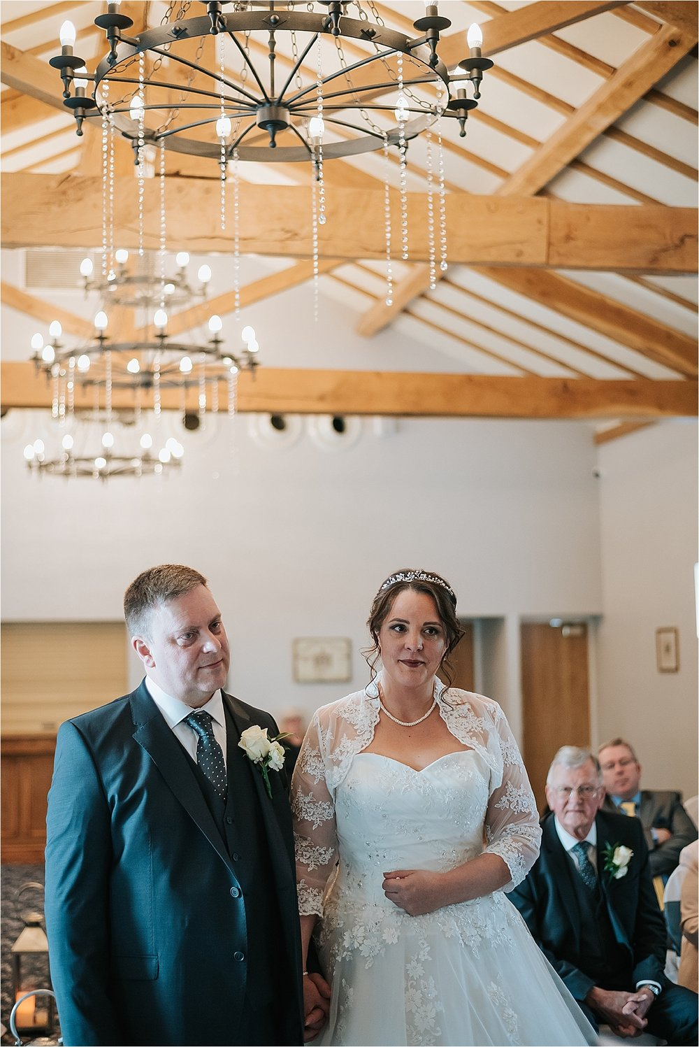 bride and groom at wedding, wrea green