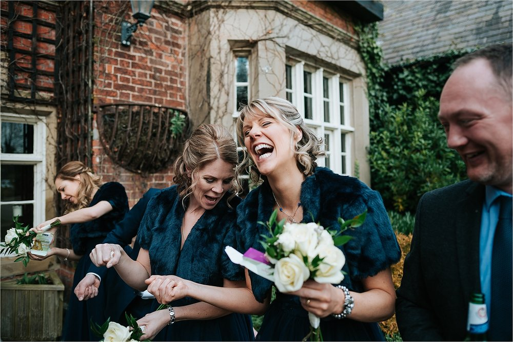 bridesmaids laughing at the villa