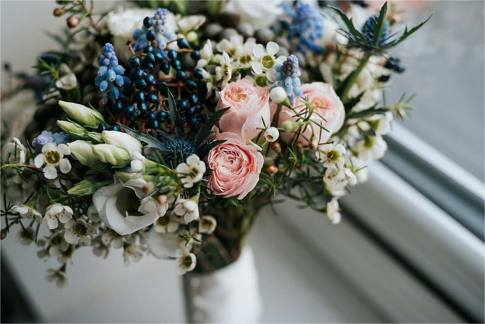 blush pink, blue and white wedding flowers