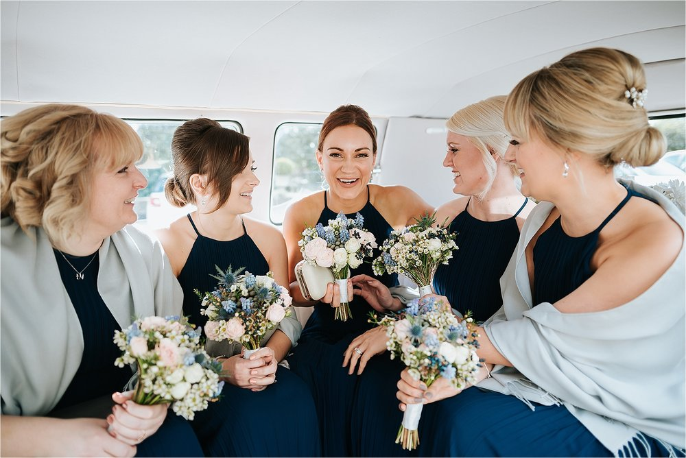 bridesmaids in vintage campervan