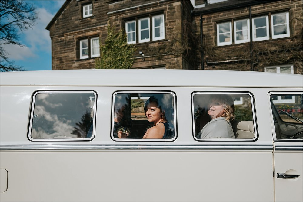 vw campervan at wedding