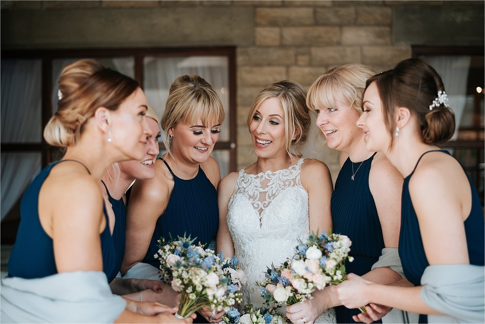 bride and bridesmaids at ferraris country house
