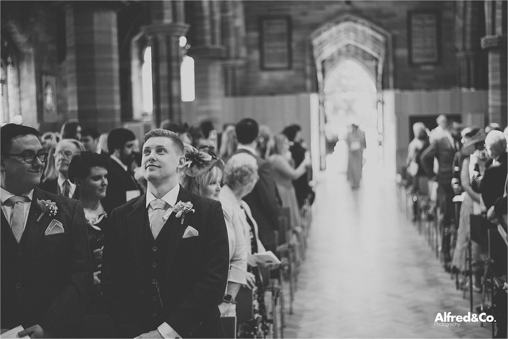 wedding ceremony at mosey hill church, liverpool