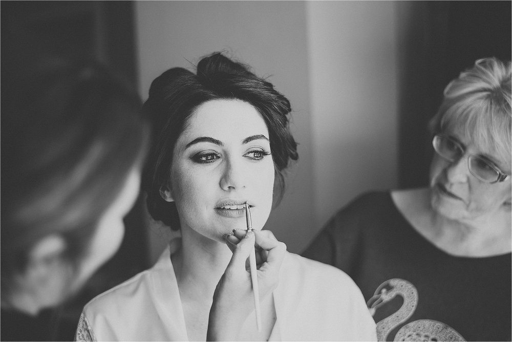 bride has make up done by louise maddison