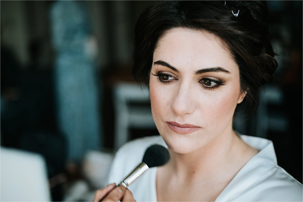 stunning bride has make up done