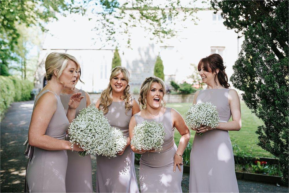 bridesmaids outside st marys and st james church scorton