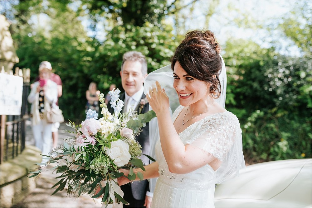 bride arrives at st marys and st james church scorton