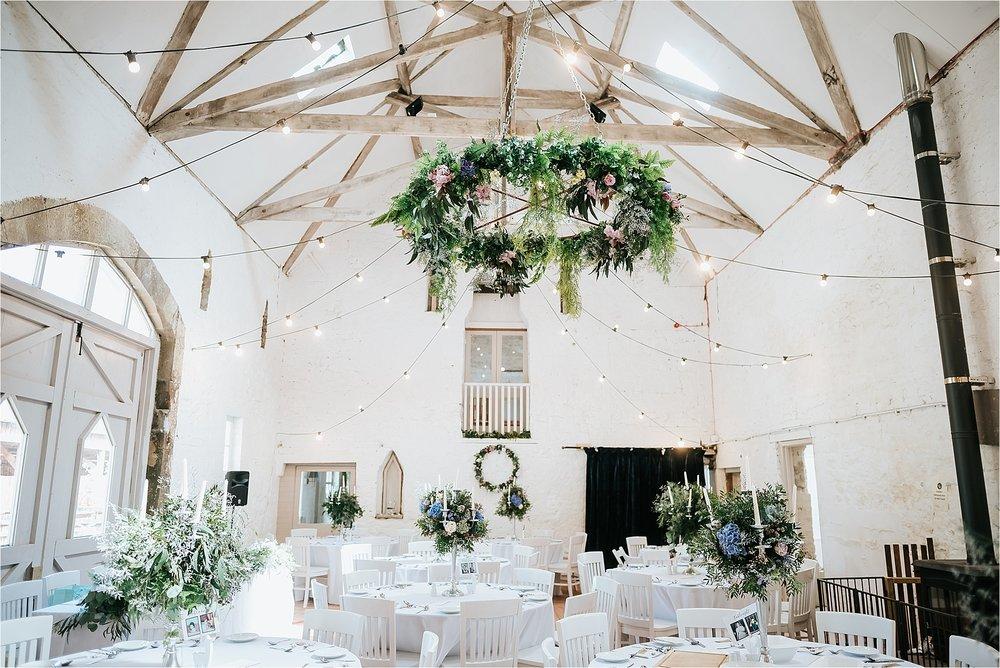 inside the boho wyresdale park wedding barn