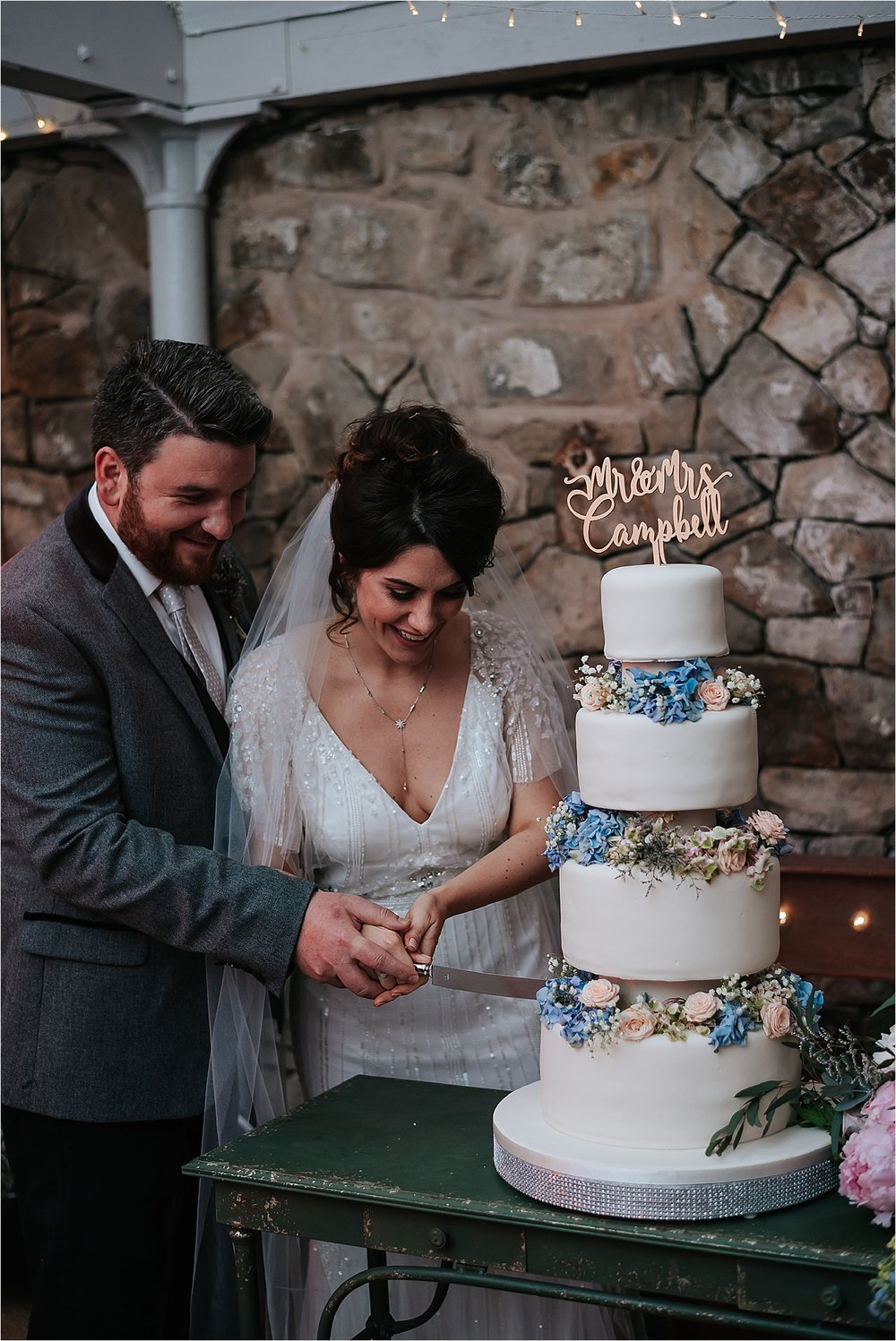 cake cutting at wyresdale park wedding