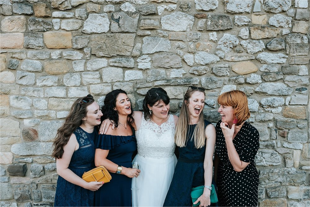 Bride and Bridesmaids at wedding at clitheroe castle