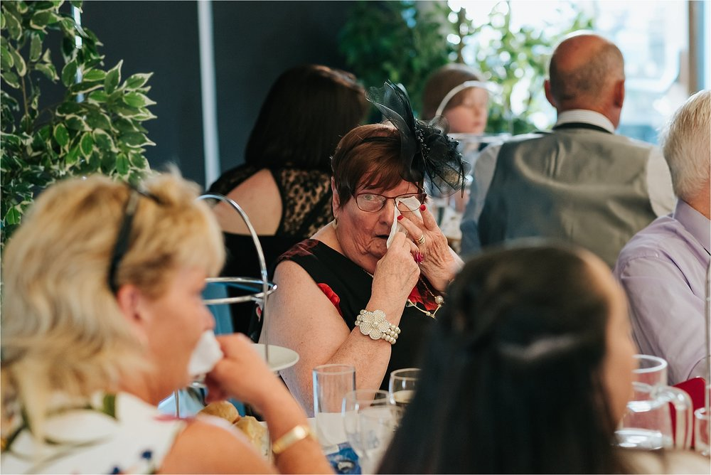 Wedding guest crying at the atrium, clitheroe