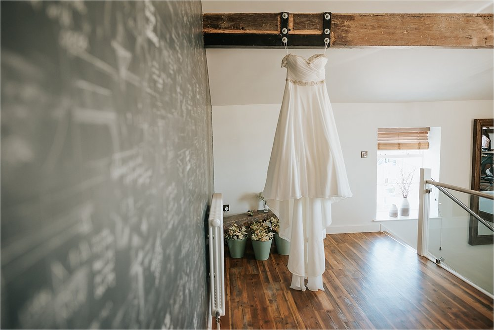 wedding dress in the penthouse at the spinning block, clitheroe