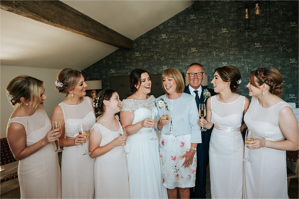 Bridesmaids and bride at the spinning block, clitheroe