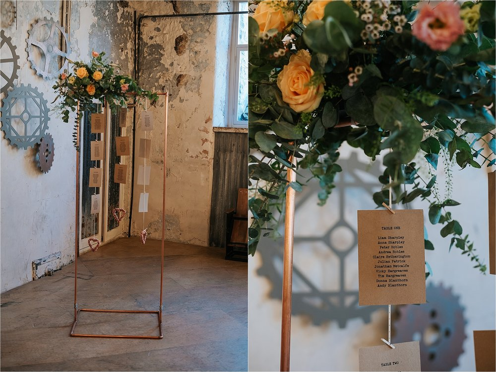 Floral Copper piping table plan at holmes mill