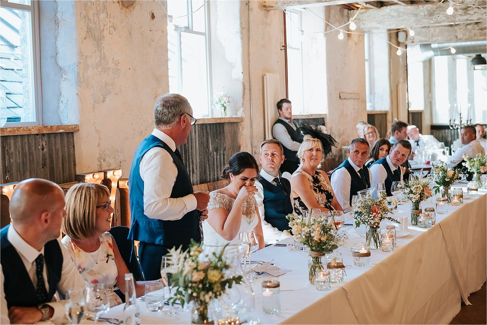 Wedding speeches at Holmes Mill in the Ribble Valley