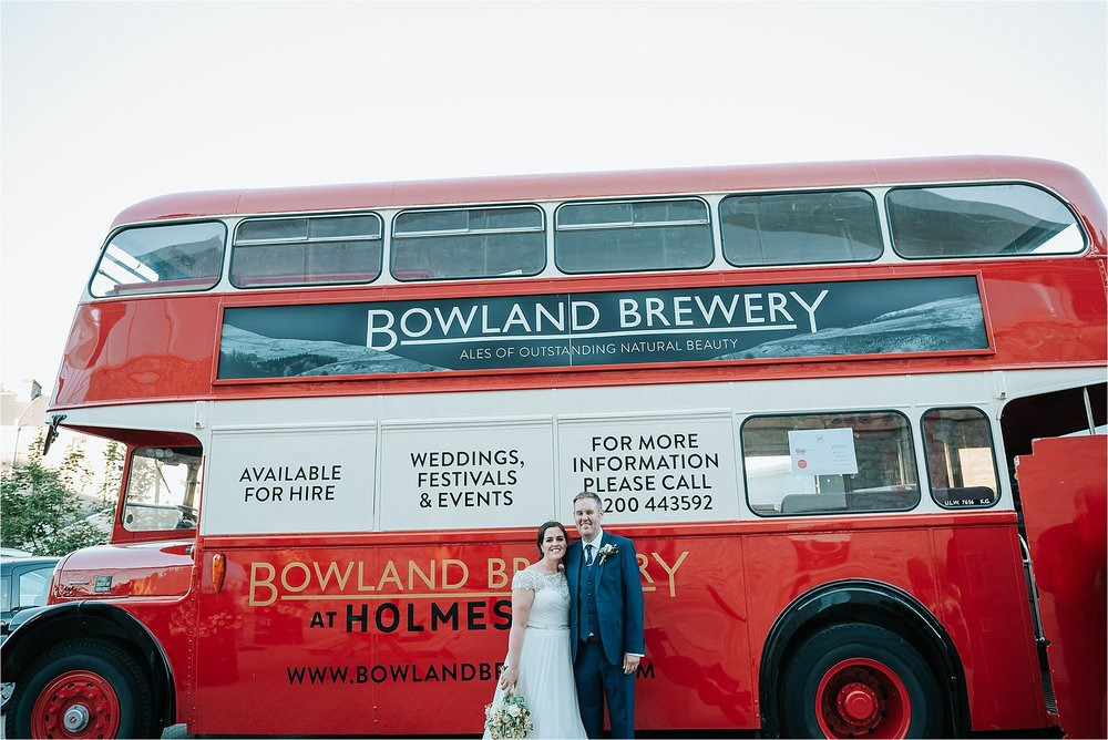 bride and groom in front of bowland brewery bus