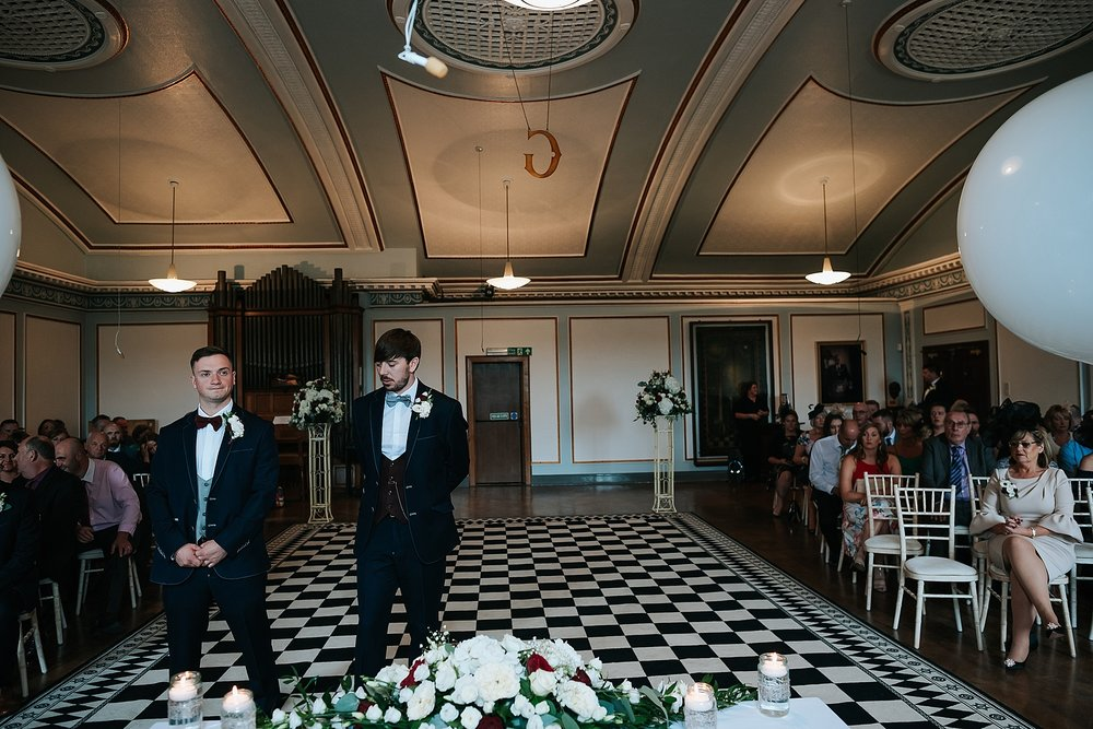 groom waiting for bride at st annes palace