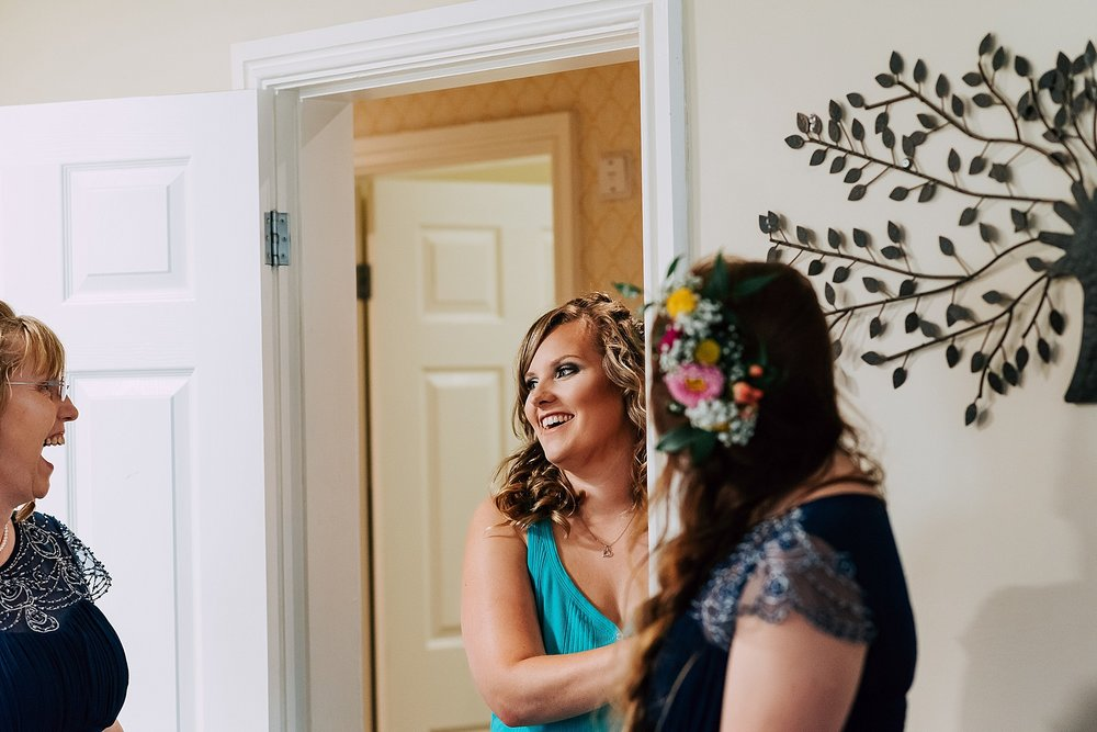 bride getting ready in cottage