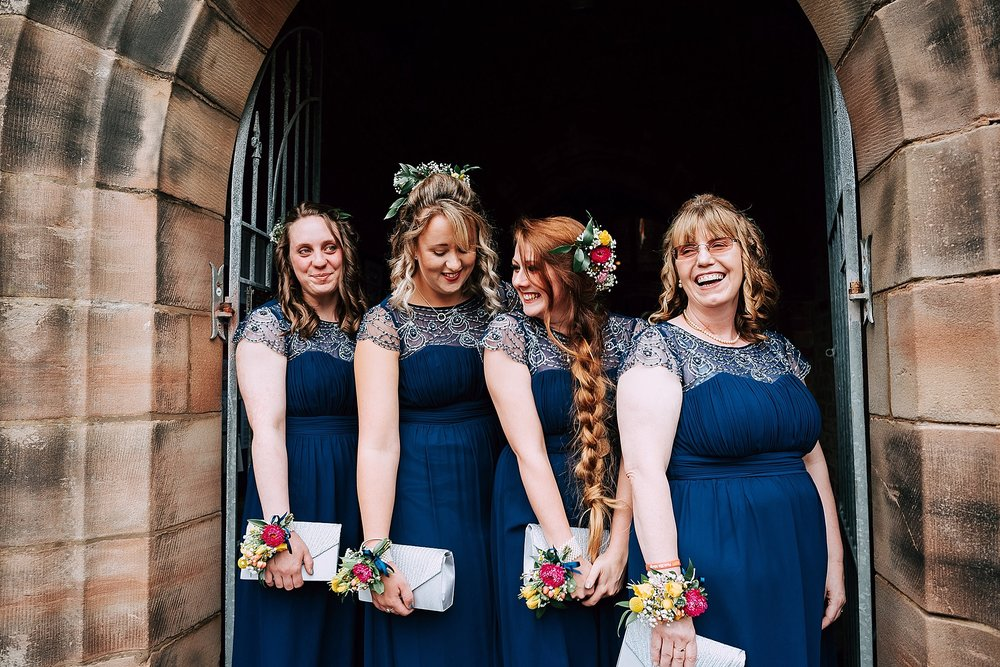 bridesmaids at christ church wesham, lancshire