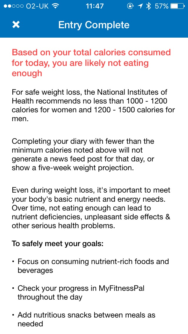 Calorie warning screen on MyFitnessPal