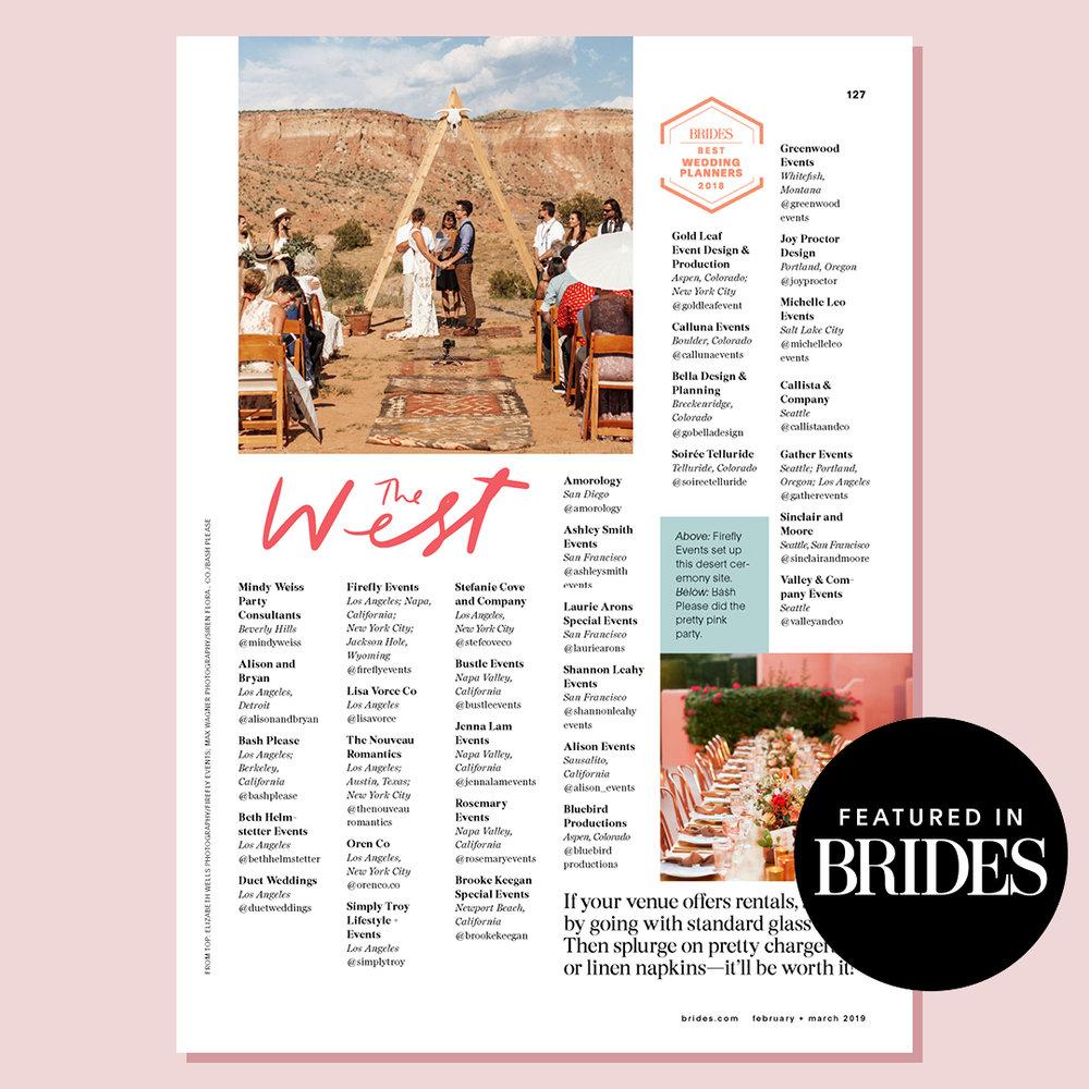 Brides 2018   Named top wedding planner in SF