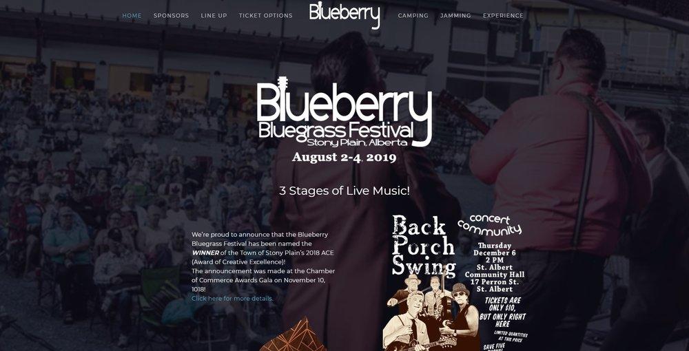Blueberry Bluegrass Festival website redesign