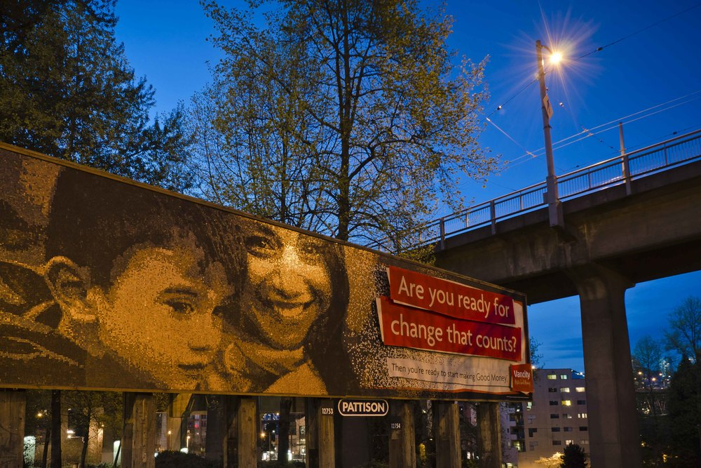 New Vancity Billboard near Granville Island made creatively out of old pennies.