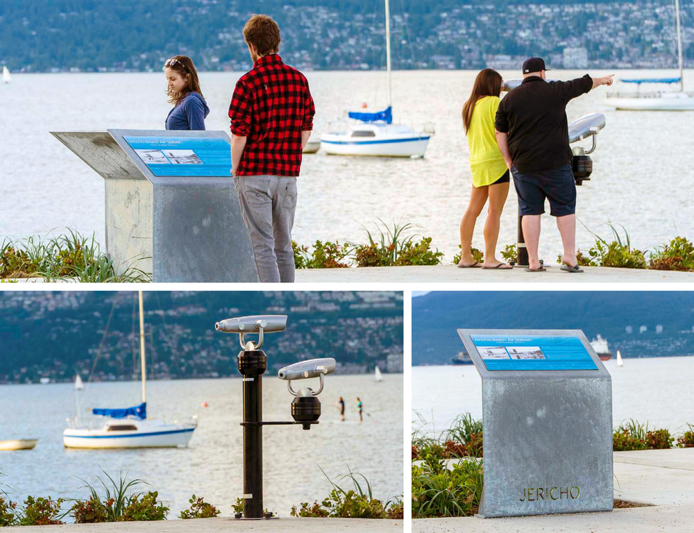Jericho Beach improvement project, overlooking English Bay, couples reading interpretive signage and viewing Vancouver City Skyline