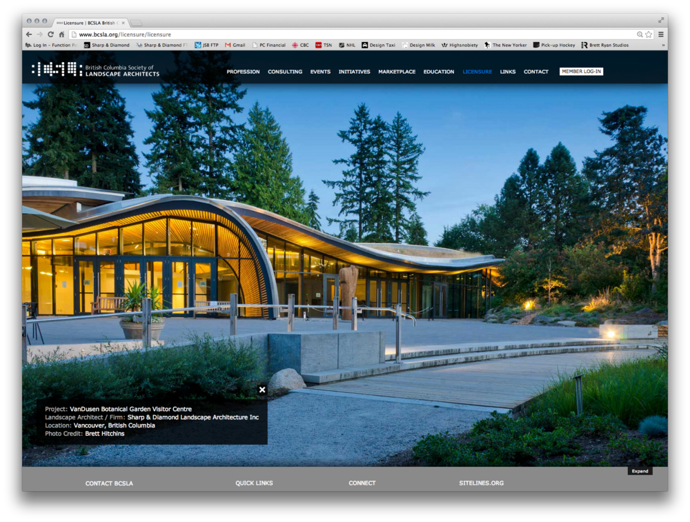 The British Columbia Society of Landscape Architects unveiled their new website updates this week. Happy to see that the fresh new format features a pairing of my Telus Atrium photos and a VanDusen Botanical Garden shot.