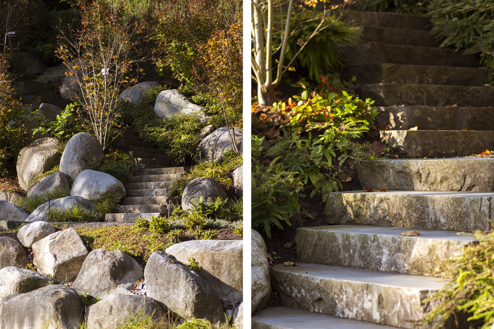 natural stone steps leading to water at Vancouver home