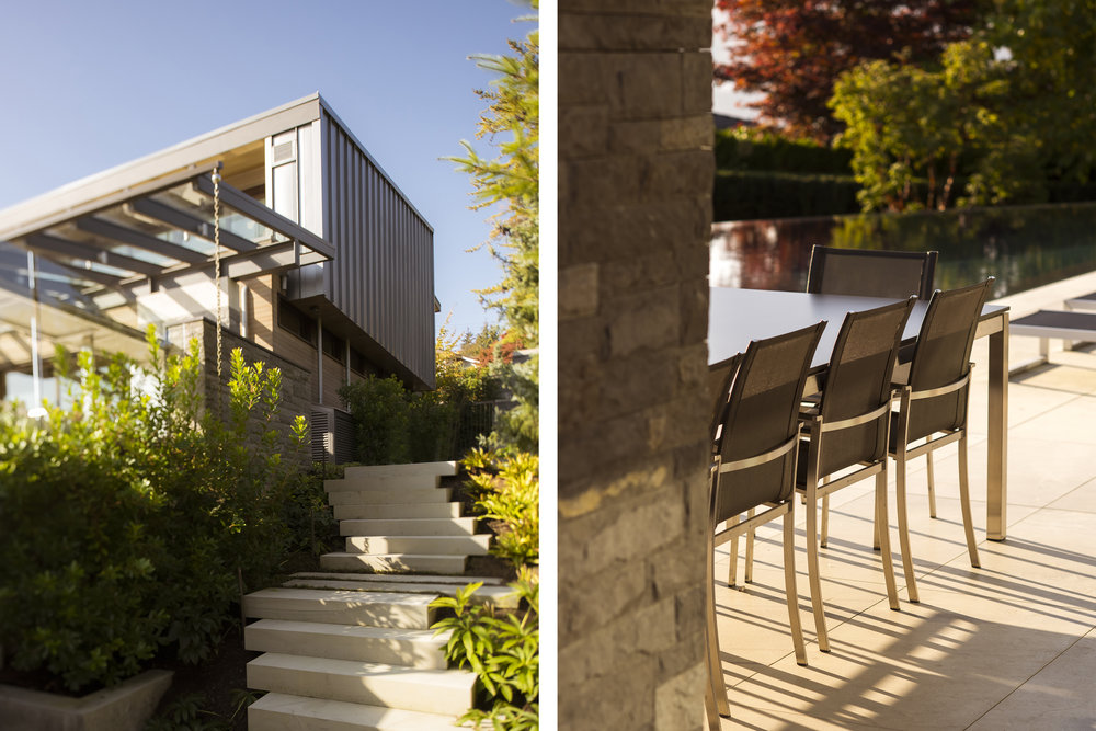 Modern Vancouver architecture with stone steps