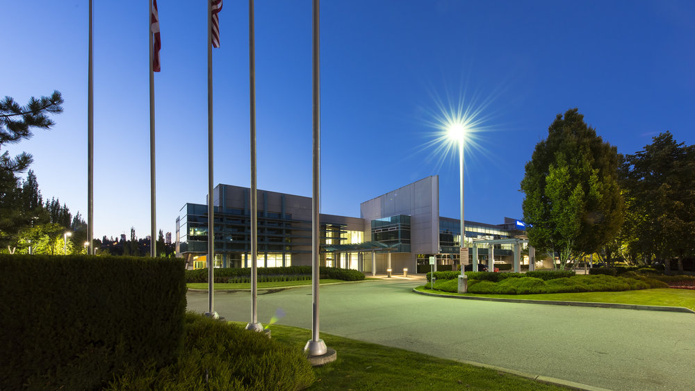 Glenlyon Business Park architecture dusk