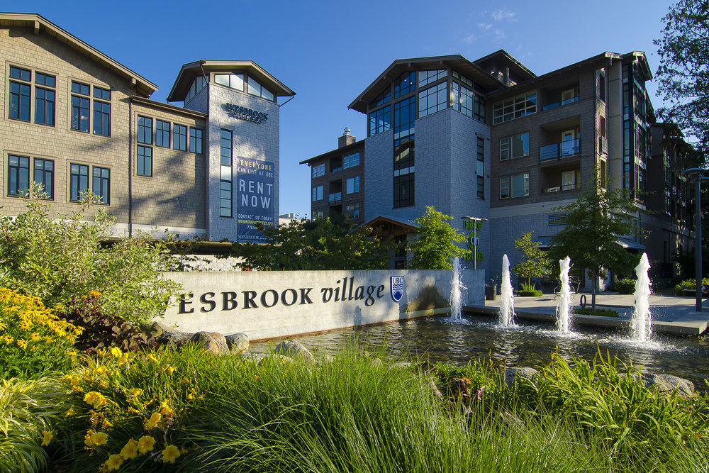 UBC Wesbrook Village Sign and Fountain