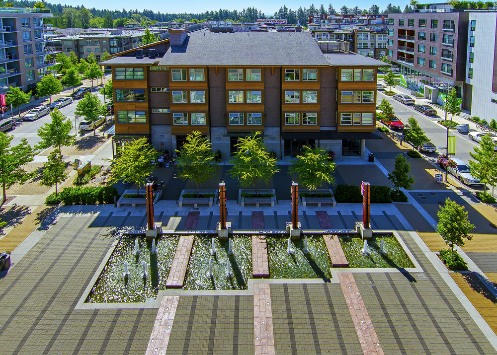 UBC Wesbrook Village Norman MacKenzie Square plaza and water feature by Perry + Associates Landscape Architects