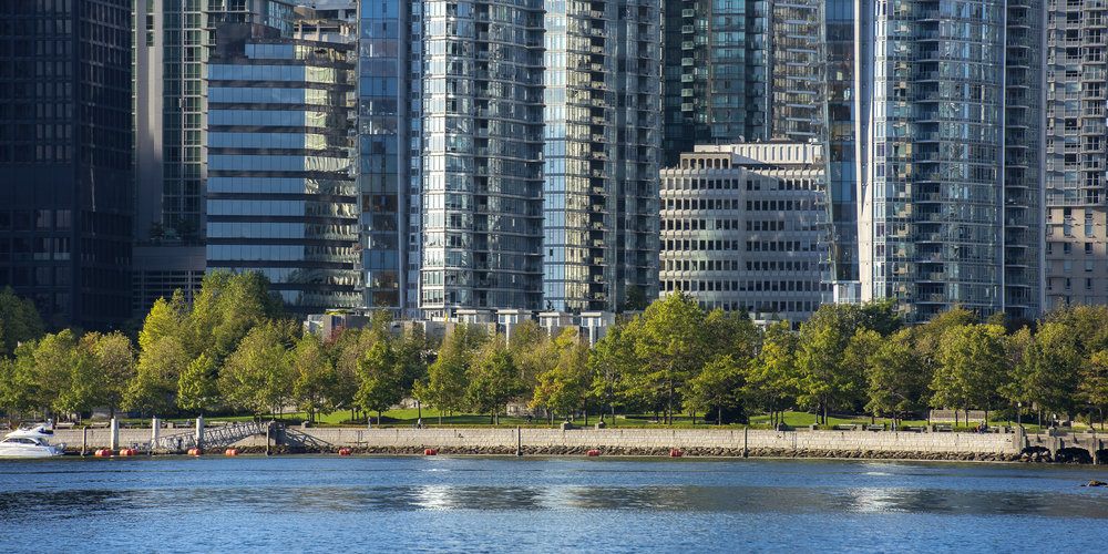 Coal Harbour seawall skyline in Vancouver